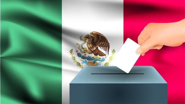 Флаг мексики, мужская рука голосование с фоном идеи концепции флага мексики