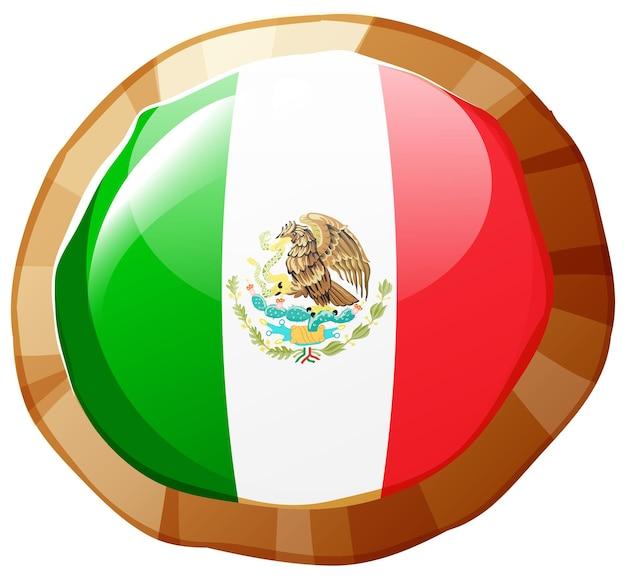 丸いバッジのメキシコの旗