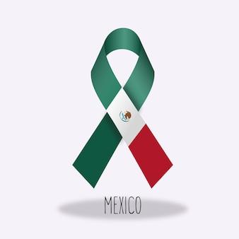 Mexico flag ribbon design
