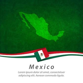中央地図とメキシコの旗