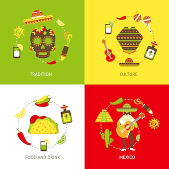 Mexico flat elements composition set