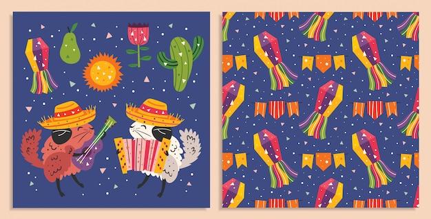 Мексика праздник. маленькие милые шиншиллы в сомбреро с гитарой, аккордеоном. кактус, пината, солнце и цветок. мексиканская вечеринка. плоский красочный бесшовный фон