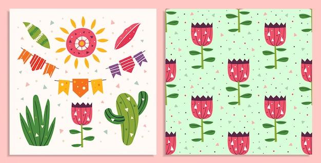 メキシコの休日。小さなかわいい装飾、旗の花輪、サボテン、太陽、花。メキシコのパーティー。平らなカラフルなシームレスパターン