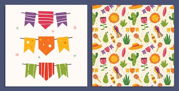 メキシコの休日。小さなかわいい装飾、ソンブレロ、マラカス、サボテン、太陽、旗、梨、葉、草。メキシコのパーティー。平らなカラフルなシームレスパターン