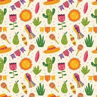 멕시코 휴가. 작은 귀여운 장식, 챙 넓은 모자, 마라 카스, 선인장, 태양, 깃발, 배, 잎 및 잔디. 멕시코 파티. 라틴 아메리카 문화. 편평한 화려한 완벽 한 패턴