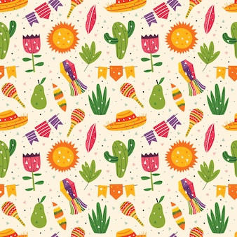 Mexico holiday. little cute decor, sombrero, maracas, cactus, sun, flags, pear, leaves and grass. mexican party. latin america culture. flat colourful   seamless pattern