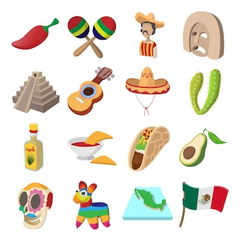 Mexico icons in cartoon style for web and mobile devices