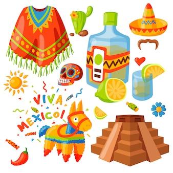 Мексиканские иконы иллюстрации традиционный графический путешествия текила алкоголь фиеста пить этничность ацтеков марака сомбреро.