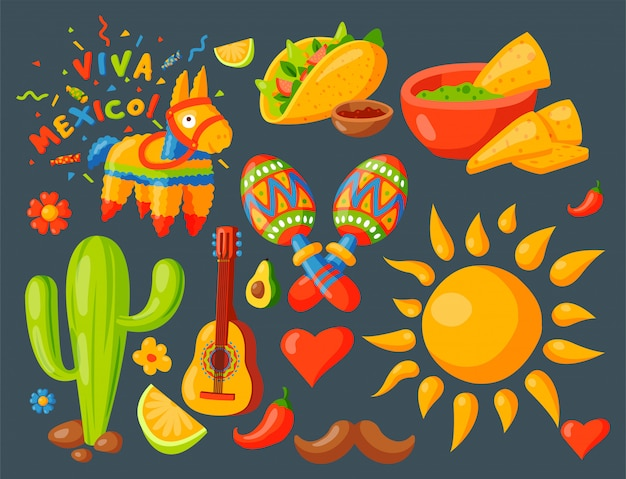 Mexico icons  illustration traditional graphic travel tequila alcohol fiesta drink ethnicity aztec maraca sombrero.