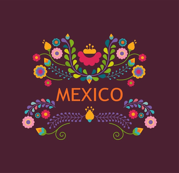 Mexico illustration with flowers and mexican decoration