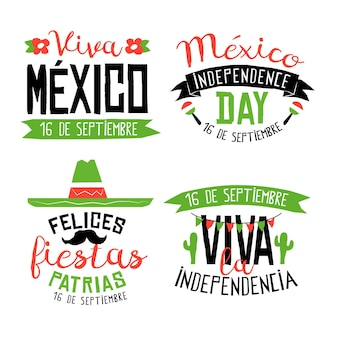 Mexico independence day badges collection