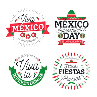 Mexico independence day badges set
