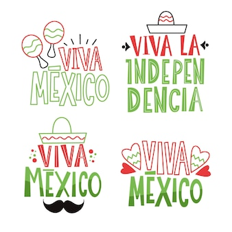 Mexico independence day badges theme