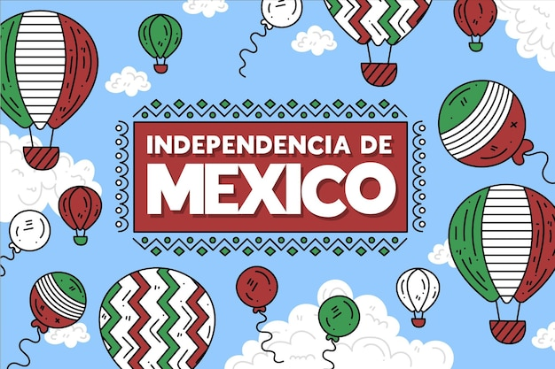 Mexico independence day balloon background