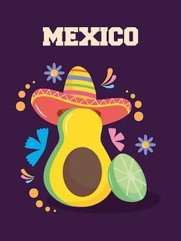 Дизайн день независимости мексики с авокадо
