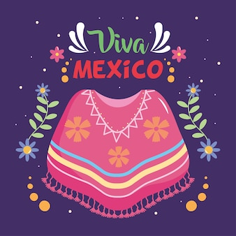 Дизайн дня независимости мексики с мексиканским пончо