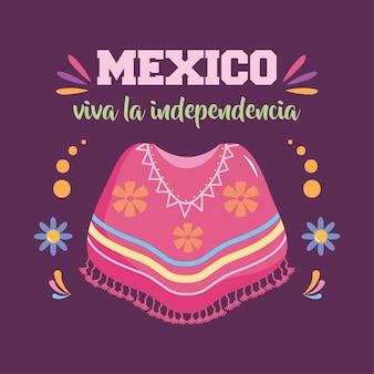 Дизайн день независимости мексики с пончо