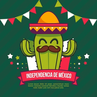 Mexico independence day in flat design