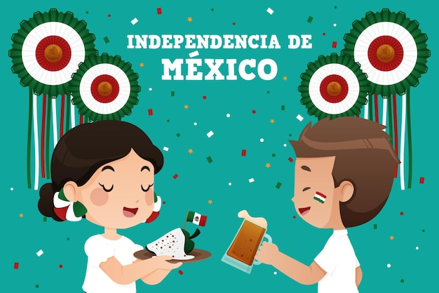 Mexico independence day illustration theme