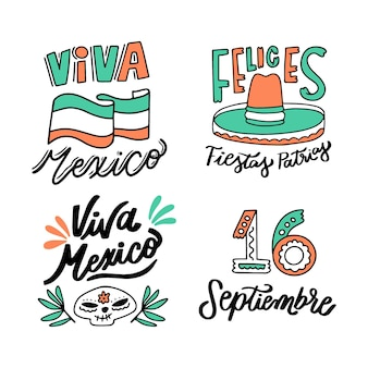 Mexico independence day lettering badges