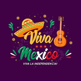 Mexico independence day lettering concept