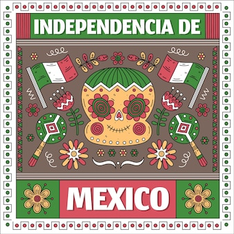 Mexico independence day in paper style