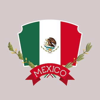 Mexico insignia flag with ribbon in colorful silhouette