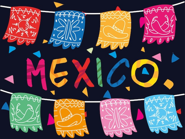 Mexico label with mexican decorative garland design
