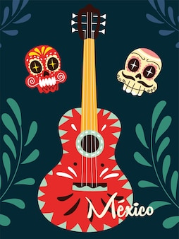Mexico label with mexican guitar, musical instrument design