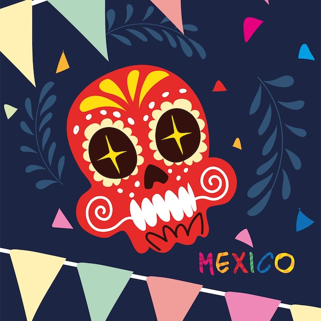 Mexico label with mexican skull, poster design