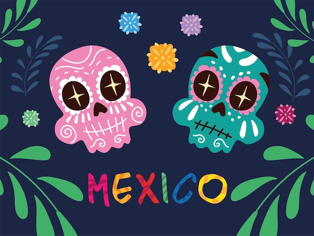Mexico label with mexican skulls, poster design
