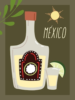 Mexico label with tequila bottle, traditional mexican drink design