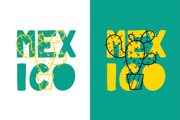 Mexico lettering with cactus