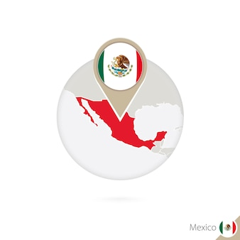멕시코 지도 및 원 안에 플래그입니다. 멕시코의 지도, 멕시코 플래그 핀입니다. 세계 스타일의 멕시코 지도입니다. 벡터 일러스트 레이 션.
