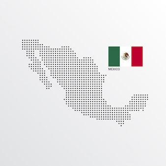 Mexico map design with flag and light background vector
