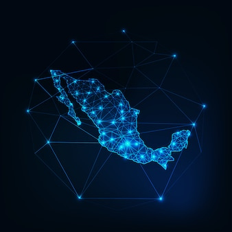 Mexico map outline with stars and lines abstract framework