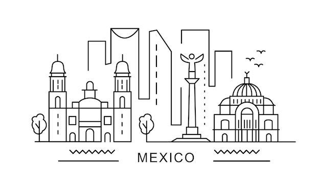 Mexico minimal style city outline skyline with typographic cityscape with famous landmarks