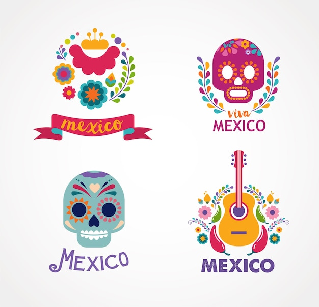 Mexico music skull and food badges