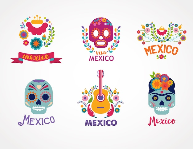Mexico music skull and food elements