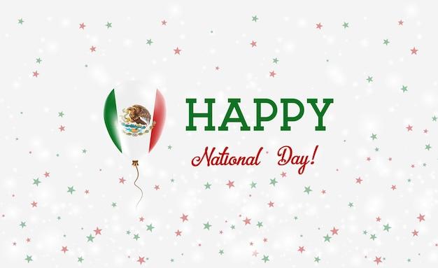 Национальный день мексики патриотический плакат. летающий резиновый шар в цветах мексиканского флага. национальный день мексики фон с воздушным шаром, конфетти, звездами, боке и блестками.