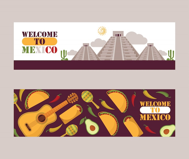 Mexico sightseeing tour banners mexican culture flat icons national cuisine and tourist attractions