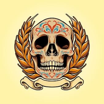 Мексиканский череп muertos с иллюстрациями к баннеру