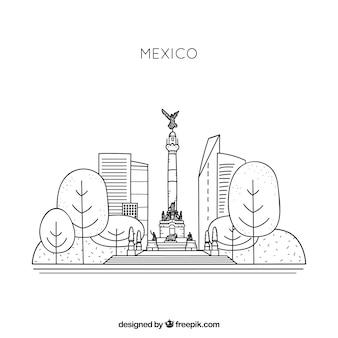 メキシコのスカイラインの背景
