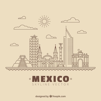 Mexico skyline background Free Vector