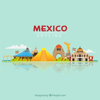 Mexico skyline and monuments