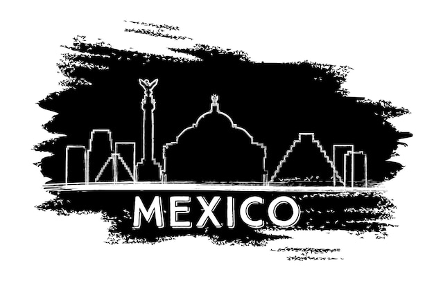 Mexico skyline silhouette. hand drawn sketch. vector illustration. business travel and tourism concept with modern architecture. image for presentation banner placard and web site.