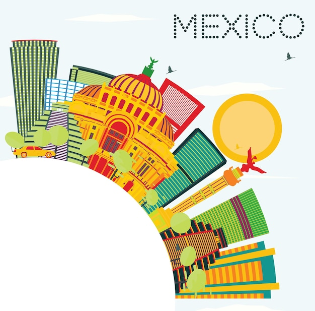 Mexico skyline with color buildings, blue sky and copy space. vector illustration. business travel and tourism concept with historic architecture.