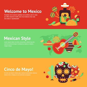 Mexico style travel music and food symbols banner set isolated vector illustration
