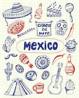 Mexico symbols pen drawn doodles collection