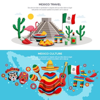 Mexico travel culture traditions sightseeing symbols horizontal with map sun mask sombrero